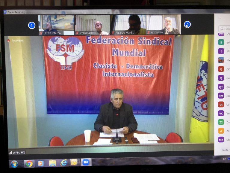 Online Meeting of WFTU General Secretary with TUI leaders